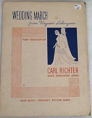VINTAGE SHEET MUSIC WEDDING MARCH FROM WAGNER'S LOHENGRIN