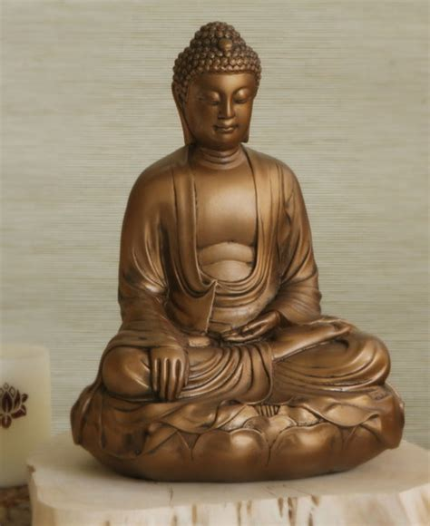 Bronze Colored Buddha Statue in Earth Touching Pose