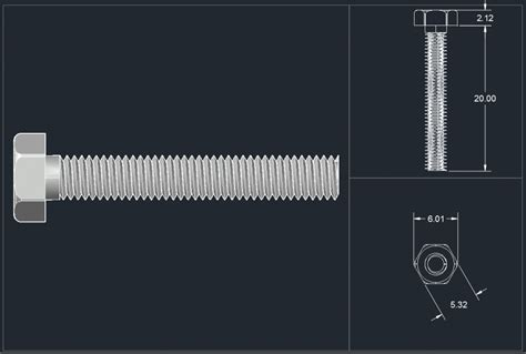 hex head bolt full thread 3d     CAD Block And Typical Drawing