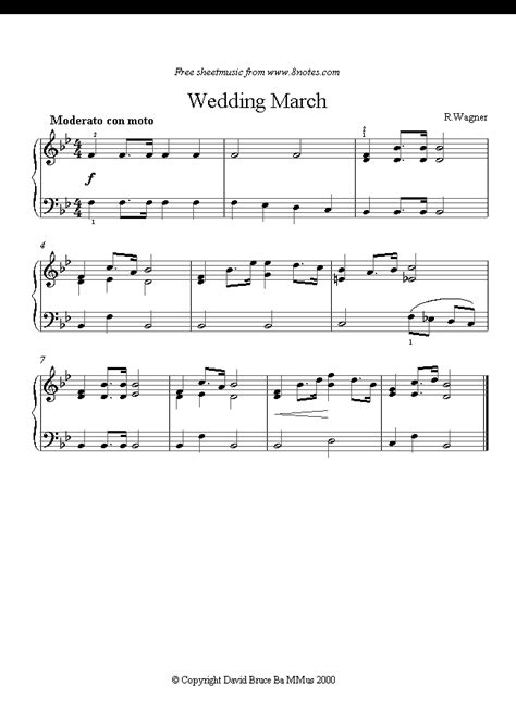 Wagner - Wedding March sheet music for Piano - 8notes