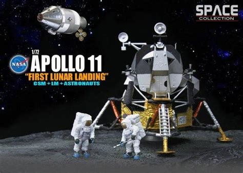 Apollo 11 Lunar Landing with CSM, LM, Stand, and