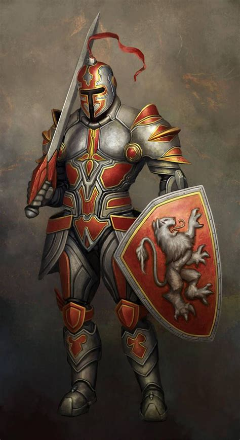 Knight with sword, shield and helmet ready for battle