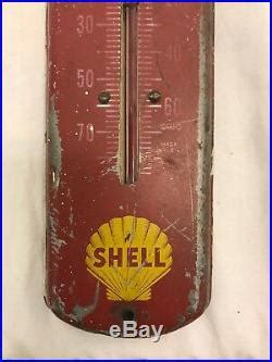 Antique Shell Oil Gas Station Thermometer Sign Working
