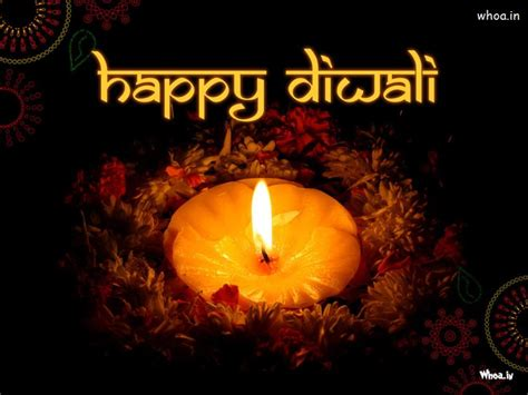 Happy Diwali With Deepak And Colorful Flower Wallpaper