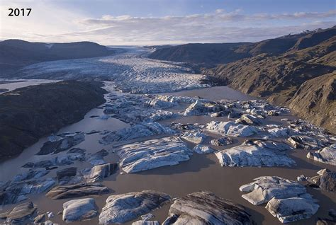 Aerial photographs reveal the 'staggering' melting of
