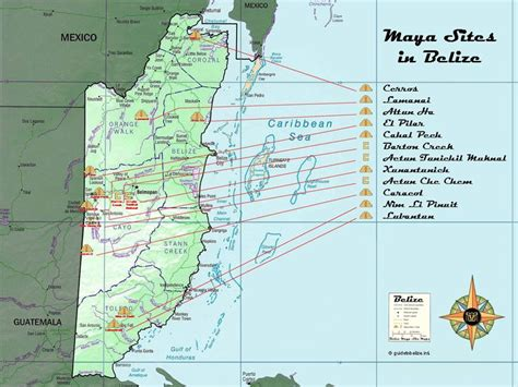 Master Map of the Belize Maya Sites | Map of belize