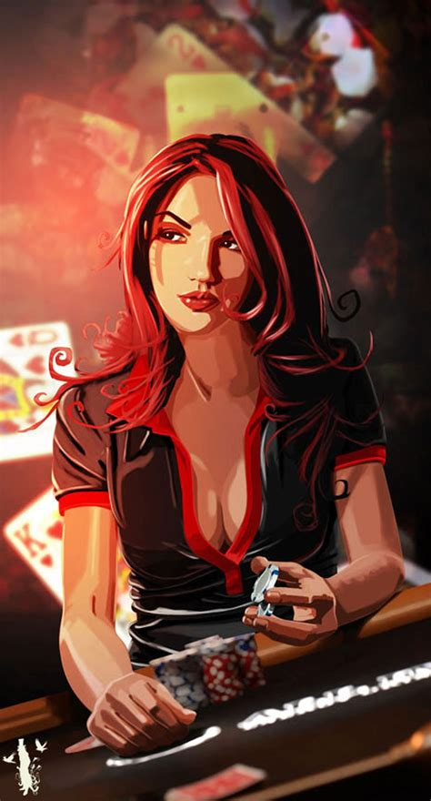 2d, Character, Girl, Woman, Illustration, Cards, Poker