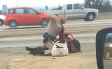 CA cop caught on tape pummeling unarmed woman on freeway