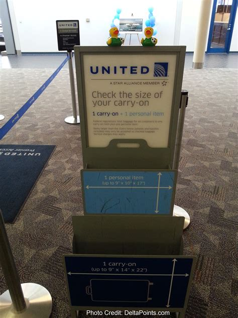 the double carry-on bag checker unit at united check-in